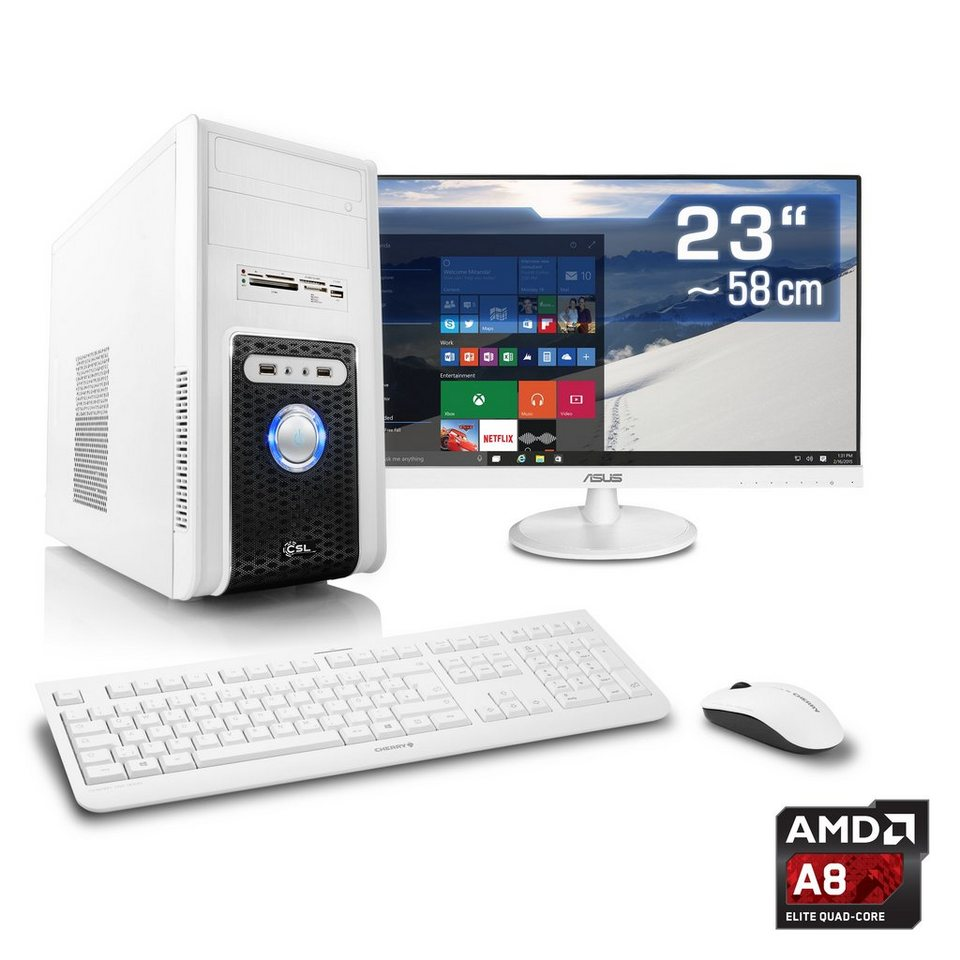 "CSL Multimedia PC Set | A8-6600K | HD 8570D | 16 GB RAM | 23"" TFT »Sprint T4602 Windows 10 Home« in weiß"