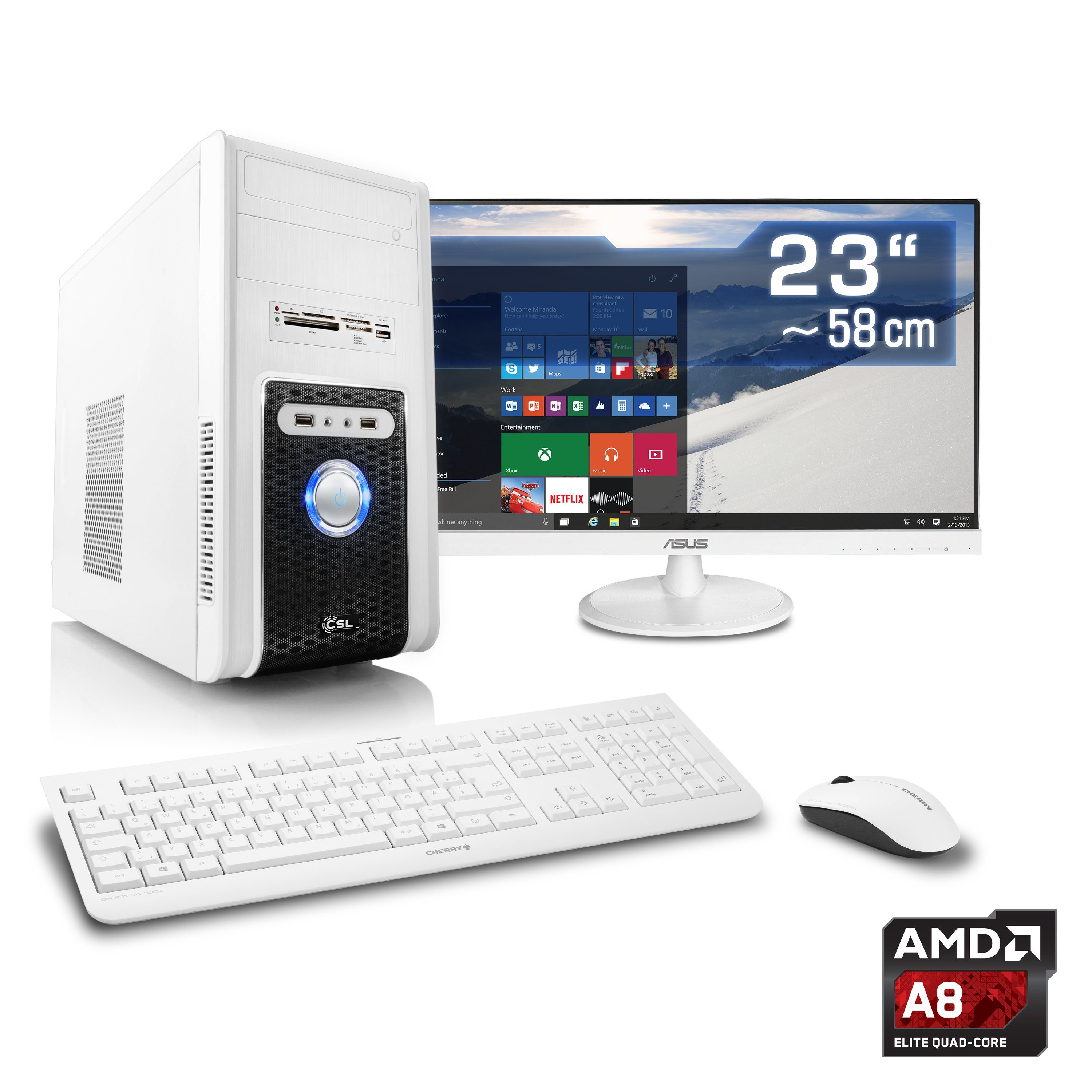 "CSL Multimedia PC Set | A8-6600K | HD 8570D | 16 GB RAM | 23"" TFT »Sprint T4602 Windows 10 Home«"