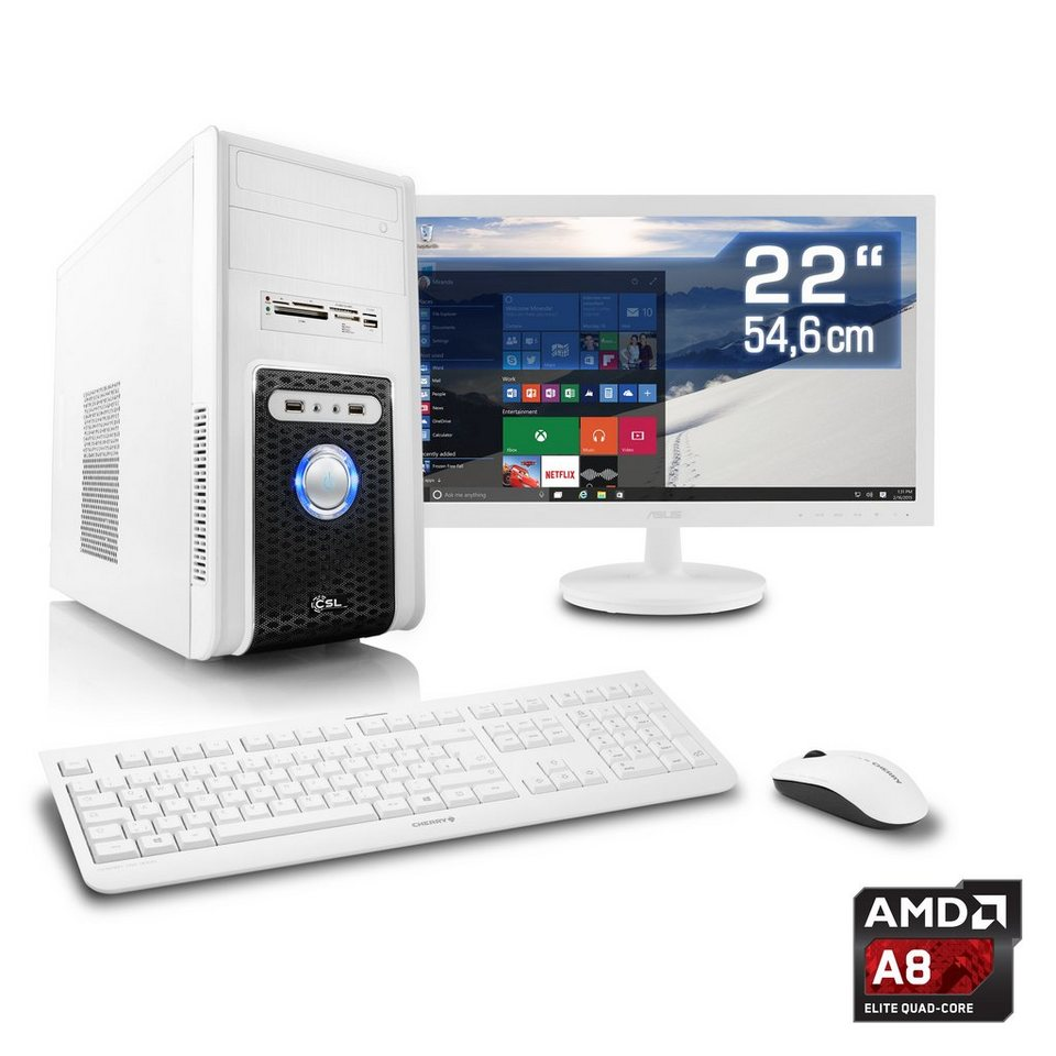 "CSL Office PC Set | A8-7600 | Radeon R7 | 8 GB RAM | 22"" TFT »Sprint T4901 Windows 10 Home« in weiß"