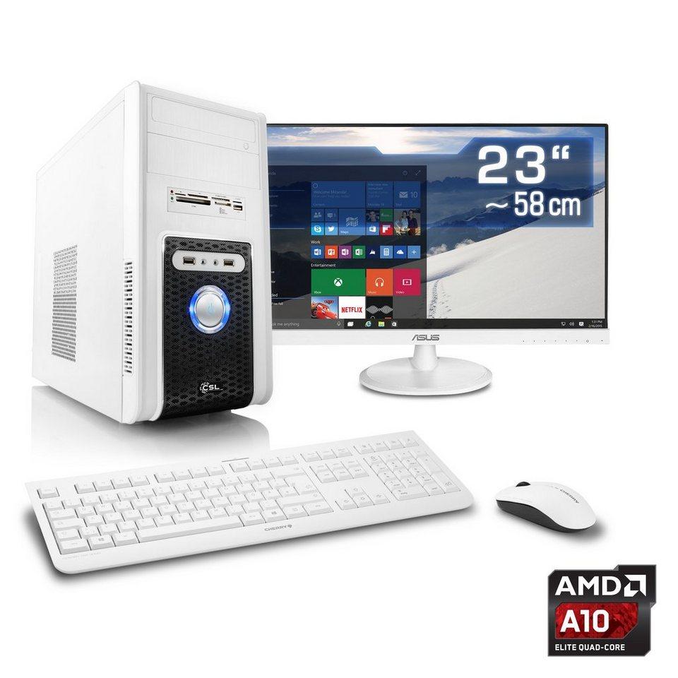 "CSL Multimedia PC Set | A10-6790K | HD 8670D | 16 GB RAM | 23"" TFT »Sprint T4601 Windows 10 Home« in weiß"