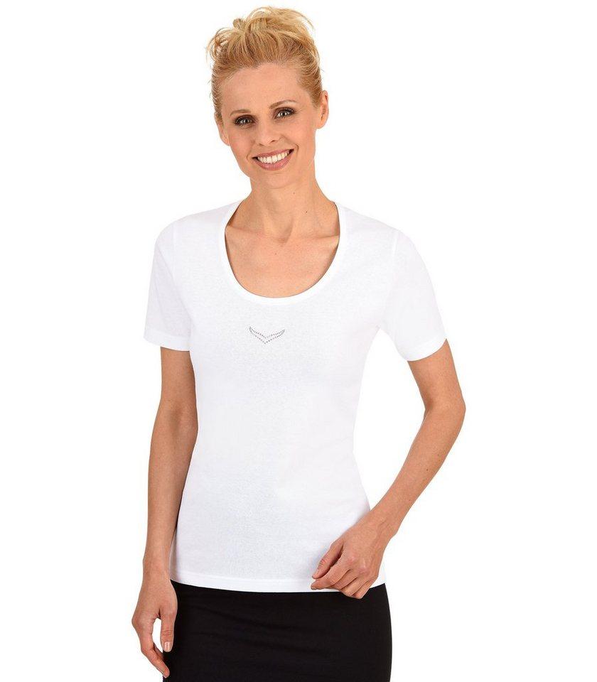 TRIGEMA T-Shirt mit Swarovski® Kristallen in weiss