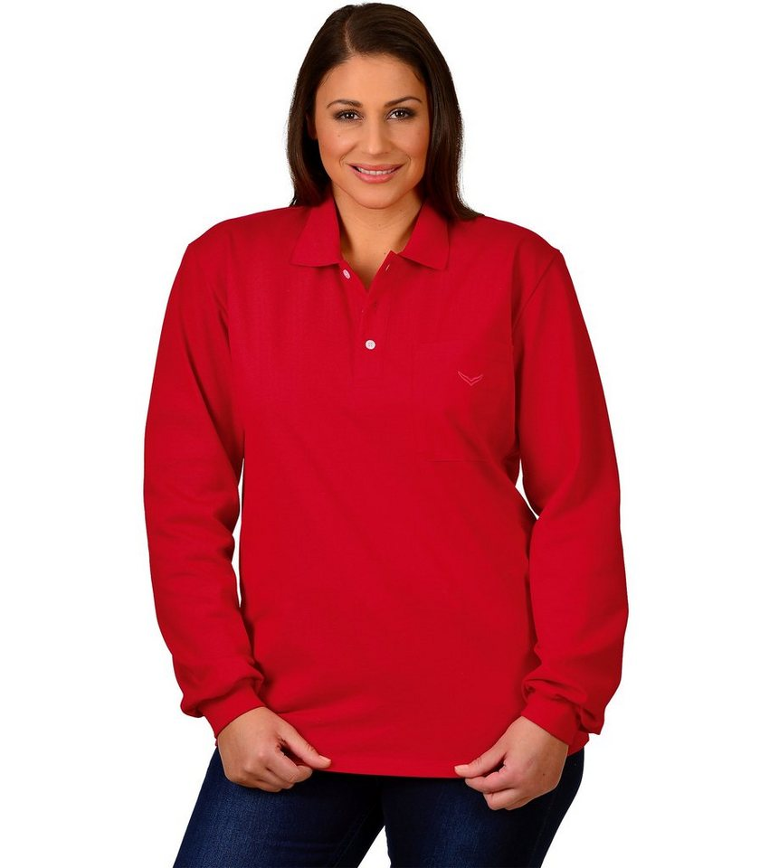 TRIGEMA Langarm Polo-Shirt in kirsch
