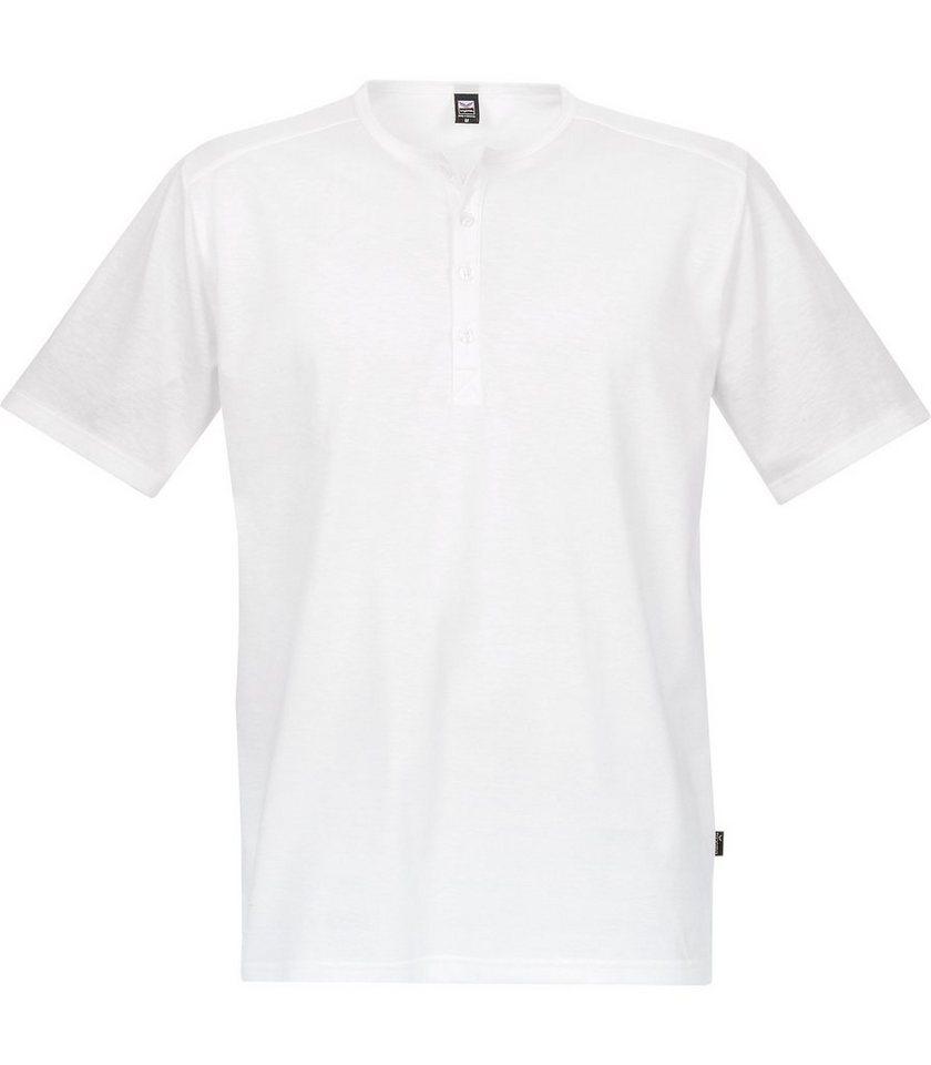 TRIGEMA T-Shirt mit Knopfleiste in weiss