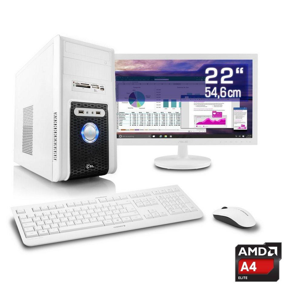 "CSL Office PC Set | AMD A4-5300 | HD 7480D | 4 GB RAM | 22"" TFT »Sprint T2511 Windows 10 Home« in weiß"