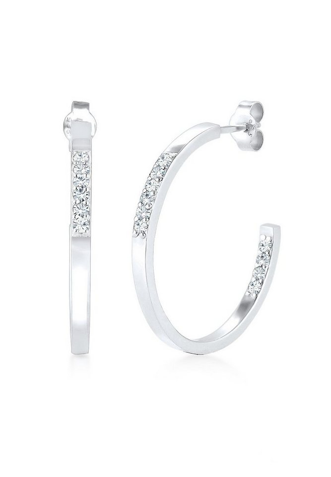 Elli Ohrringe »Creole Swarovski® Kristalle 925 Sterling Silber« in Silber