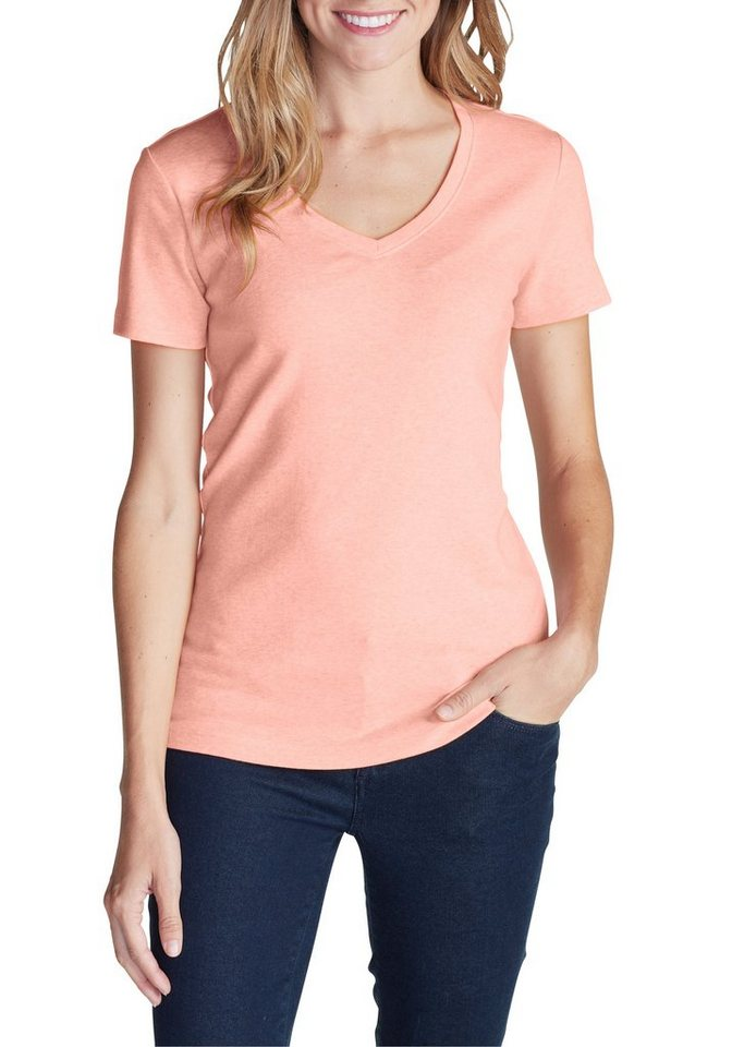 Eddie Bauer T-Shirt mit V-Ausschnitt in Rosa meliert