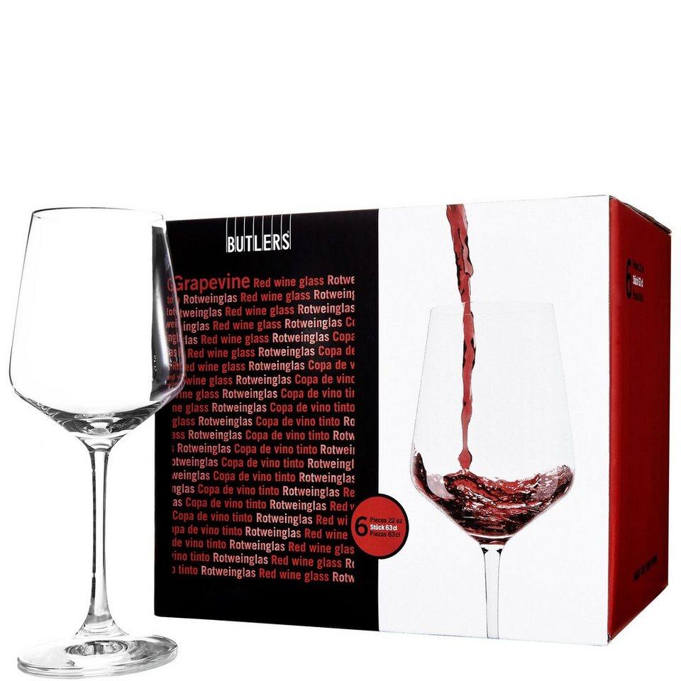 BUTLERS GRAPEVINE »Rotweinglas 6er Set« in Transparent