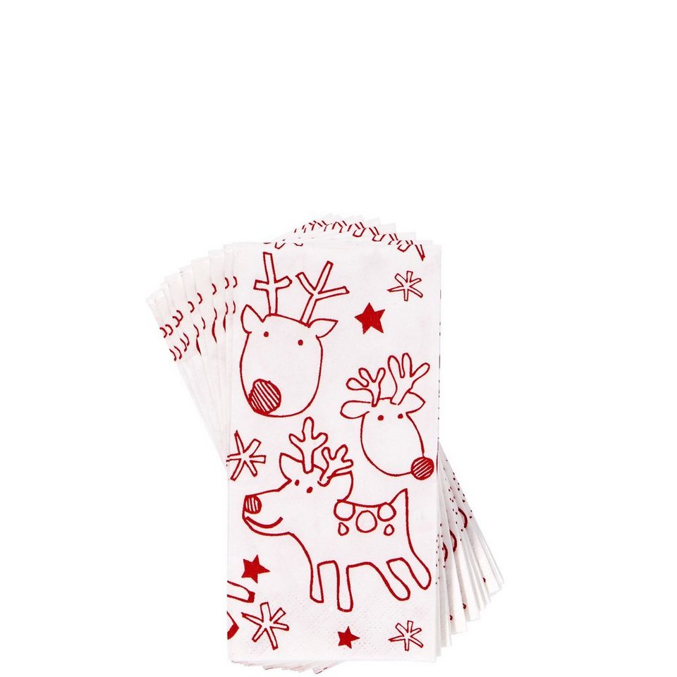 BUTLERS X-MAS »Taschentücher Rudy« in weiss-rot