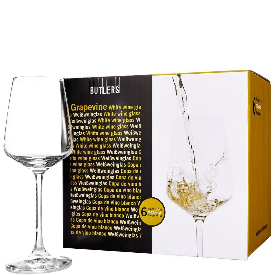 BUTLERS GRAPEVINE »Weißweinglas 6er Set« in Transparent