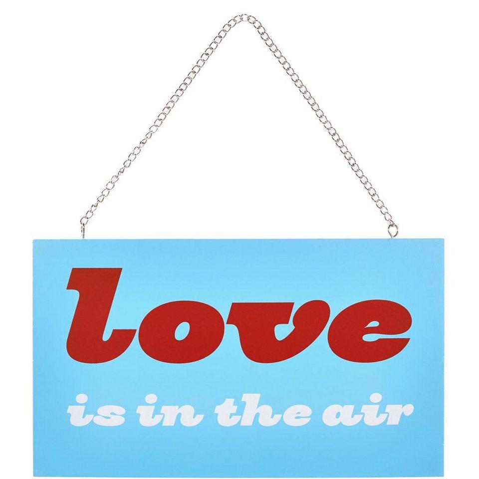 "BUTLERS STORYBOARD »Schild ""Love is in the air""« in Hellblau"
