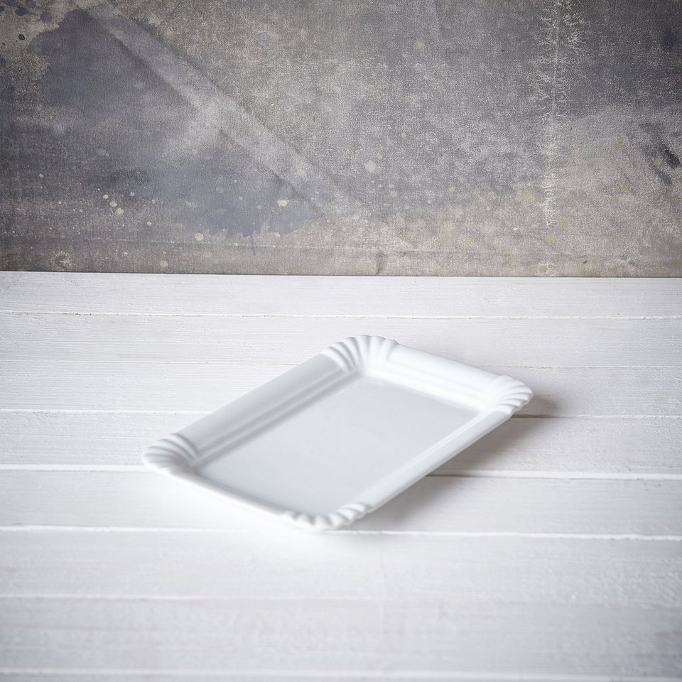BUTLERS PURO »Teller 'Pappoptik'« in Weiß