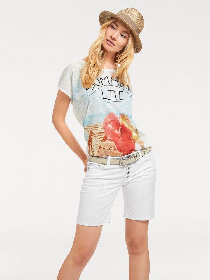 Heine T-Shirt mit Schriftzug in weiß/bunt