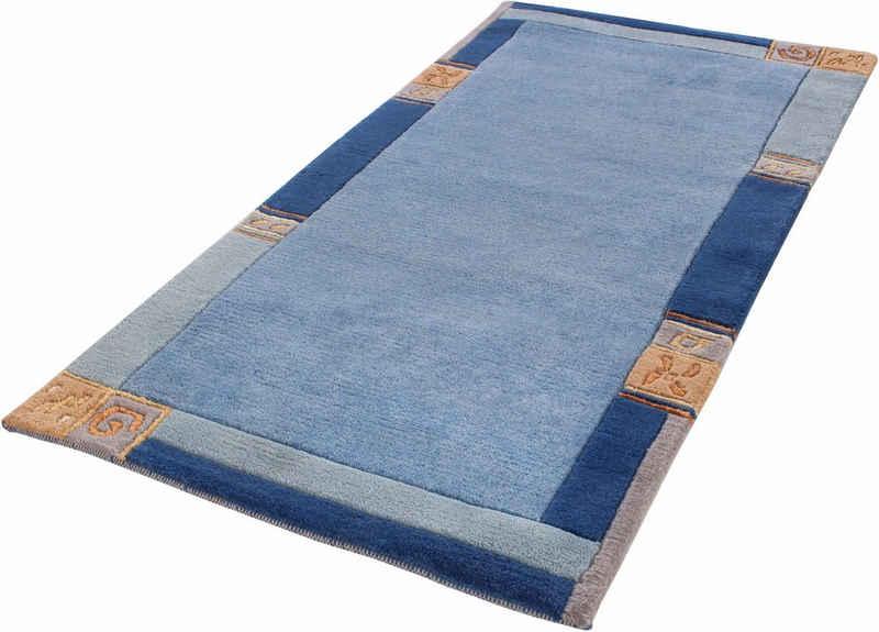 Wollteppich »India«, LUXOR living, rechteckig, Höhe 20 mm, reine Wolle, handgeknüpft, mit Bordüre, Wohnzimmer