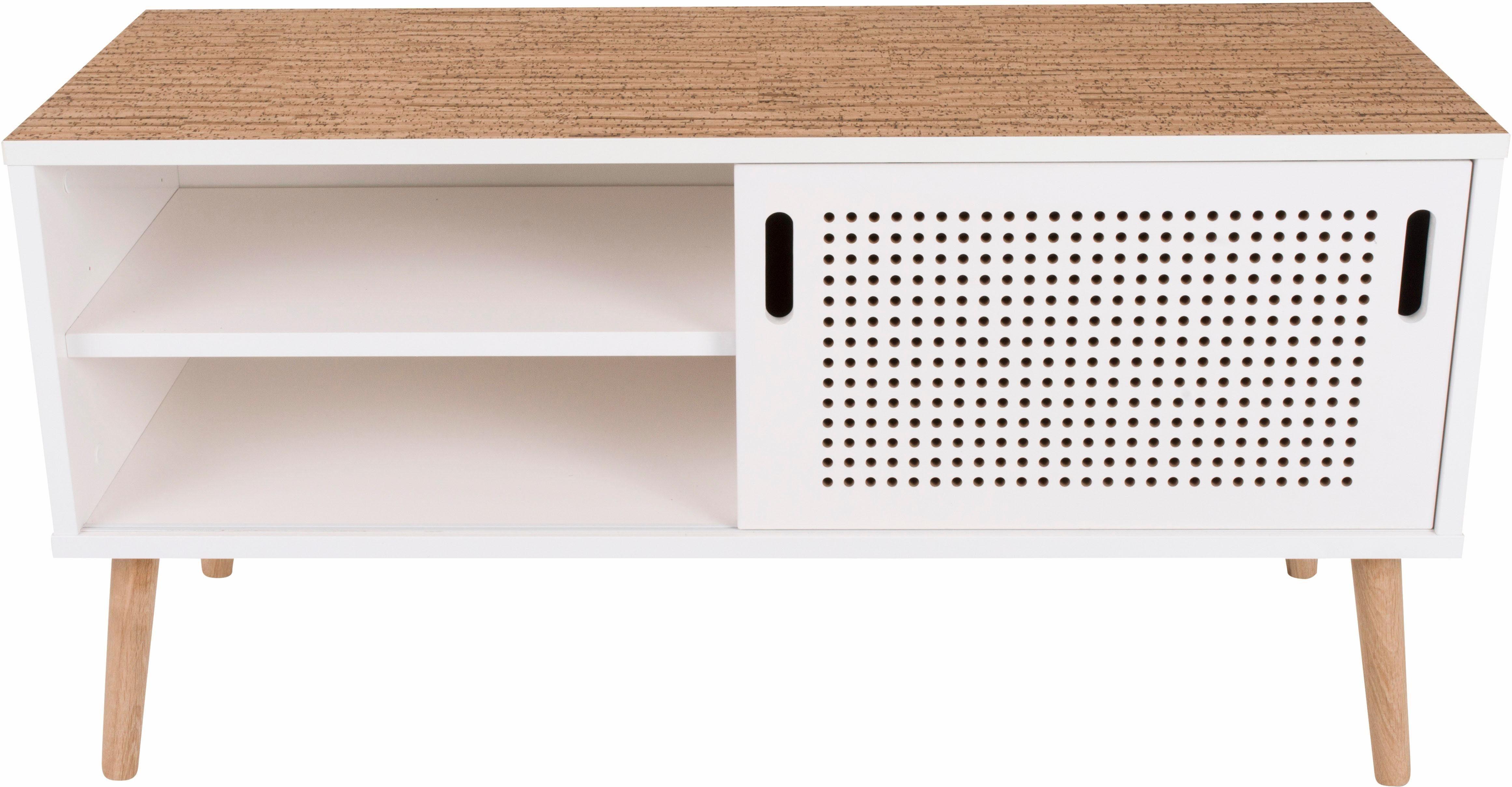 andas Lowboard «Scala», Breite 106 cm, mit Schiebetür und Naturkork-Topplatte