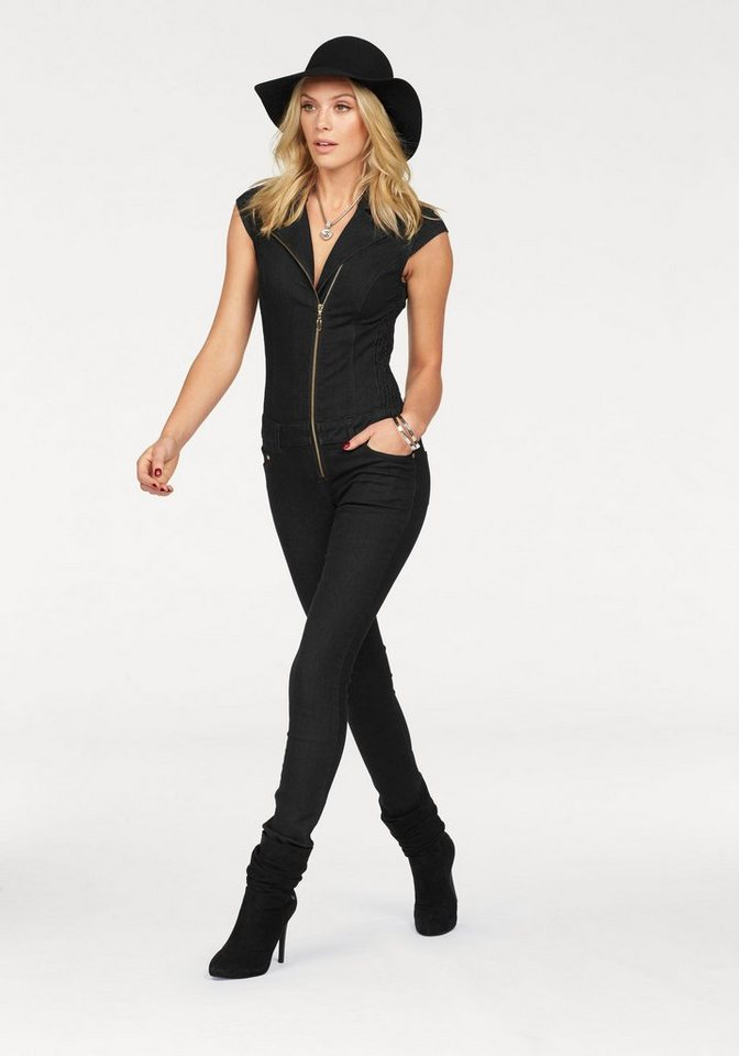 Melrose Overall aus softem Denim in schwarz