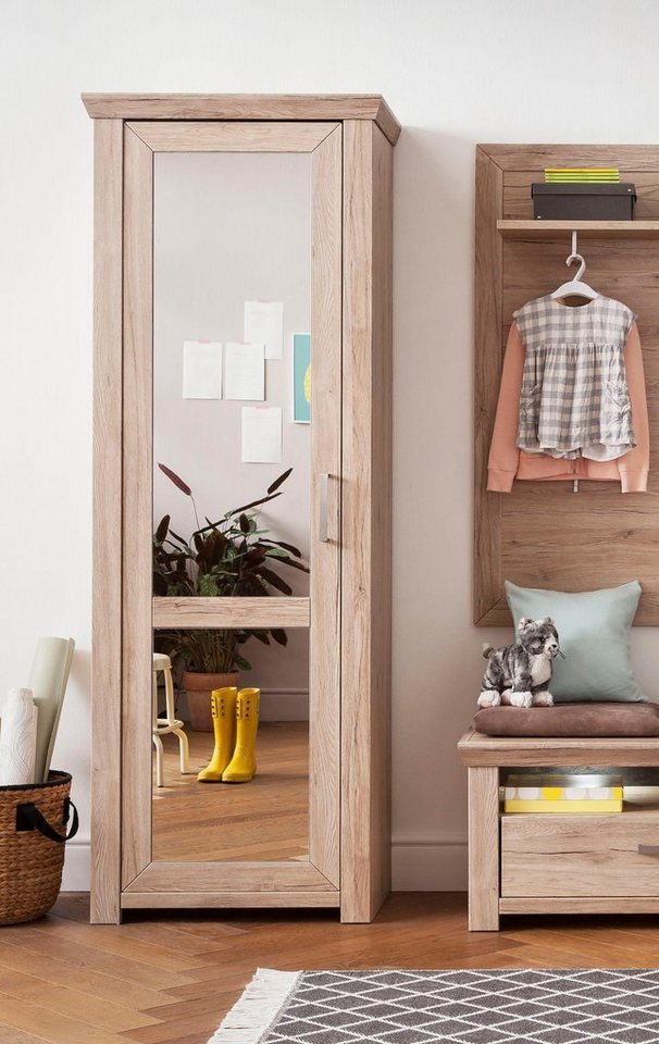 set one by musterring garderobenschrank mit spiegel york typ 01 typ 12 san remo sand im. Black Bedroom Furniture Sets. Home Design Ideas