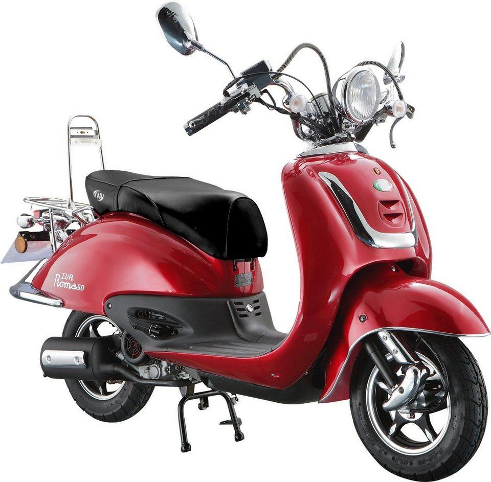 Retro-Mofaroller »RETRO ROMA«, 50 ccm 25 km/h, für 1 Person, rot/braun in rot/braun