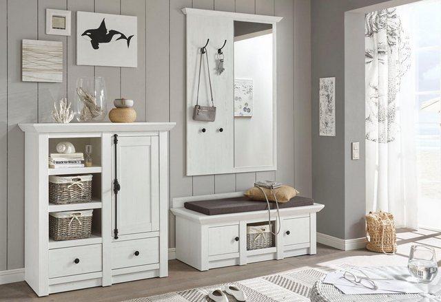 Garderoben Sets - Home affaire Garderoben Set »California«, (Set, 3 tlg), Set aus Sitzbank, Paneel mit Spiegel und Kommode  - Onlineshop OTTO