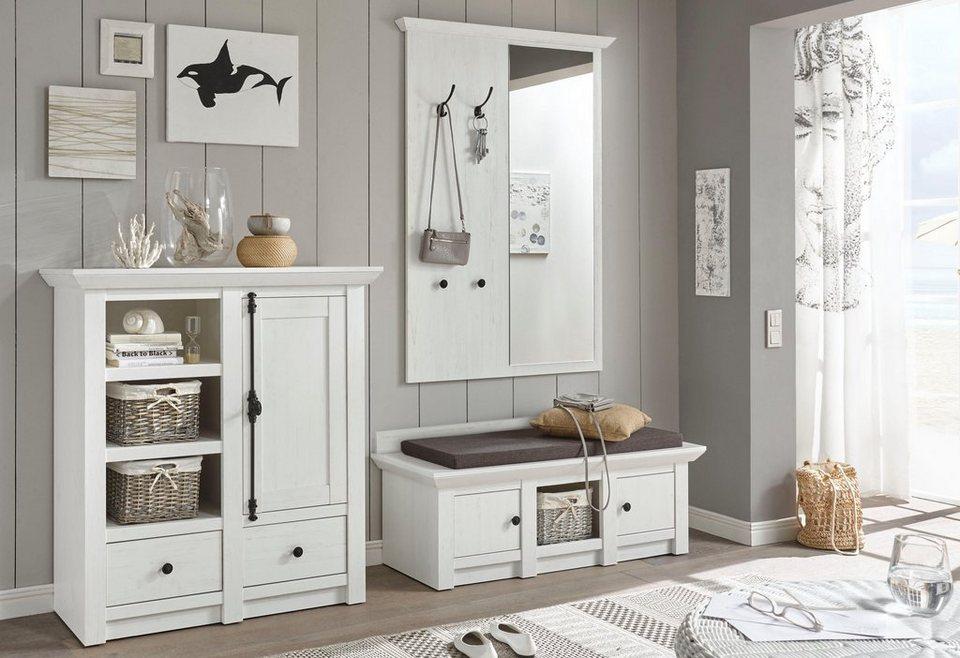 Home affaire Garderoben-Set »California«, (Set, 3-tlg), Set aus: Sitzbank,  Paneel mit Spiegel und Kommode online kaufen | OTTO
