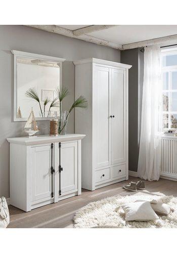 Home affaire 3-tlg. Garderoben-Set California, Set aus Garderobenschrank, Spiegel und Kommode weiß  