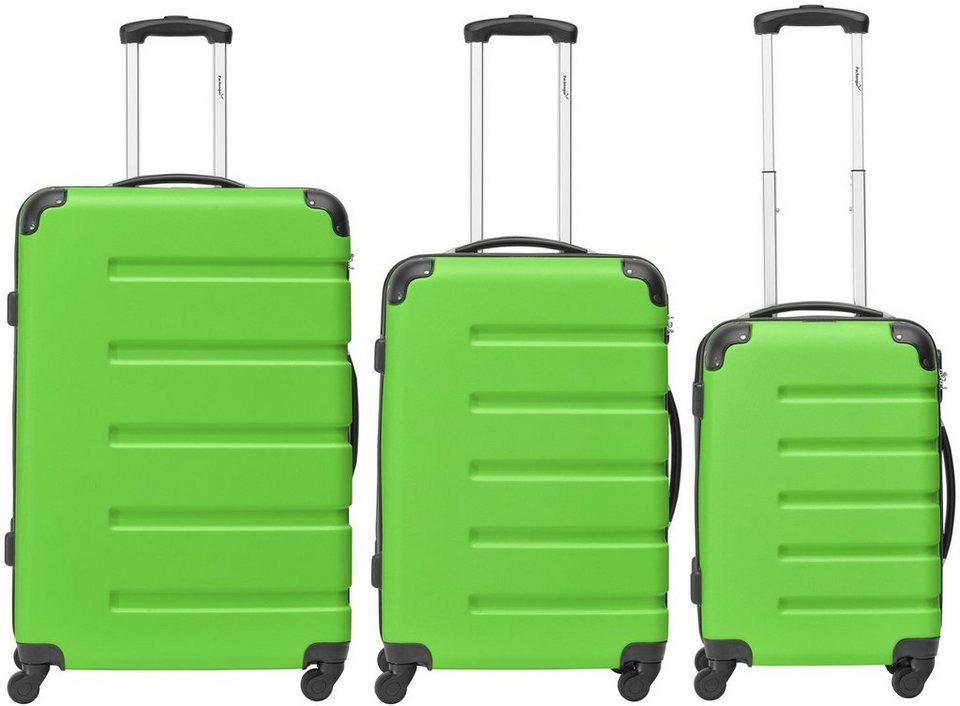Packenger Hartschalentrolley Set mit 4 Rollen, »Marina« (3tlg.) in grün