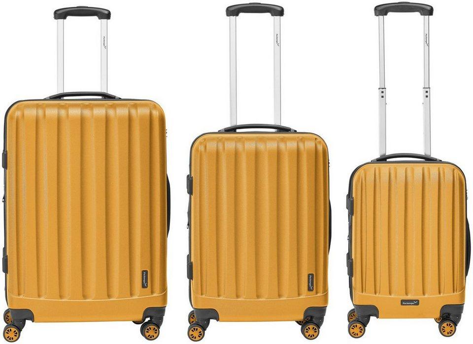 Packenger Hartschalentrolley Set mit 4 Rollen, »Velvet« (3tlg.) in orange