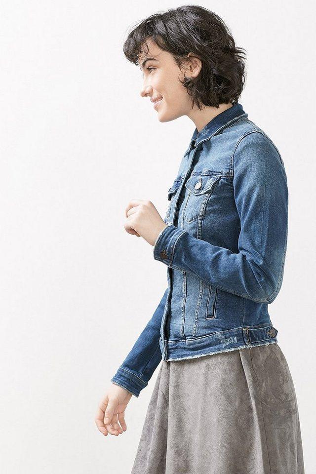 ESPRIT CASUAL Taillierte Jeans-Jacke mit Used-Effekten in BLUE MEDIUM WASHED