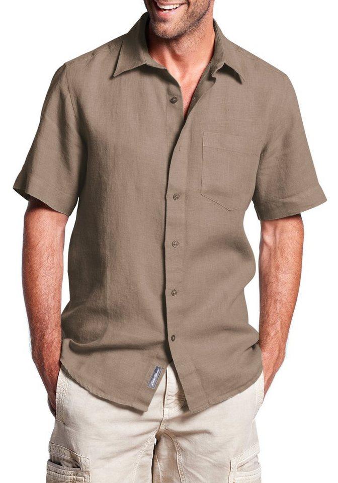 Eddie Bauer Kurzarmhemd aus Leinen in Dunkelkhaki