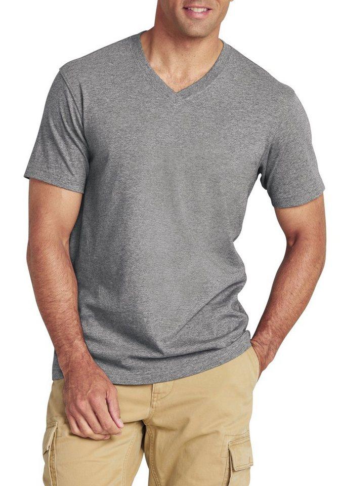 Eddie Bauer T-Shirt mit V-Ausschnitt in Grau meliert