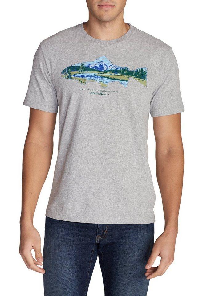 Eddie Bauer T-Shirt Troutscape in Hellgrau meliert