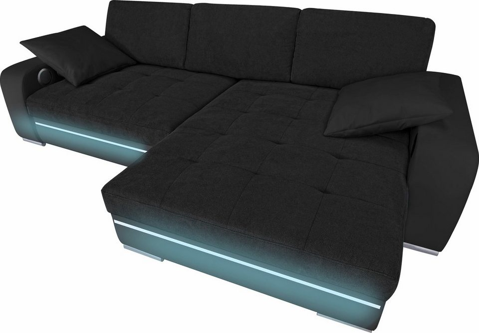 Polsterecke, Wahlweise Mit Bettfunktion, RGB LED Und Bluetooth Soundsystem