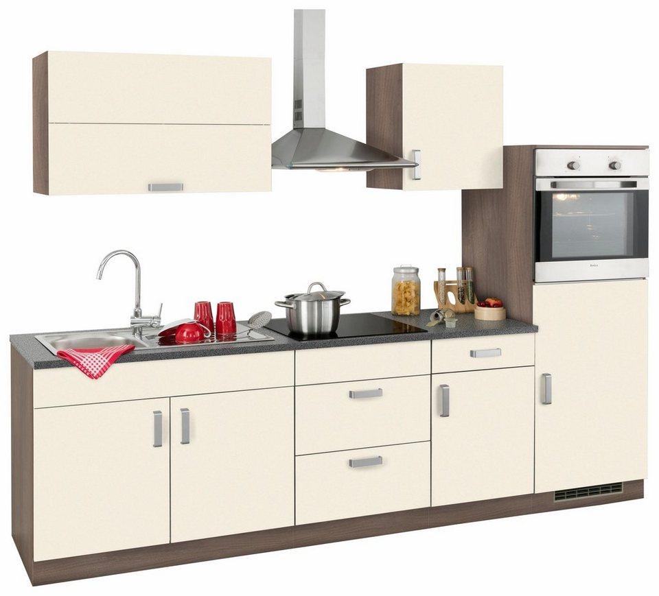 Küchenzeile »Tacoma« mit E-Geräten, Breite 270 cm in vanillefarben
