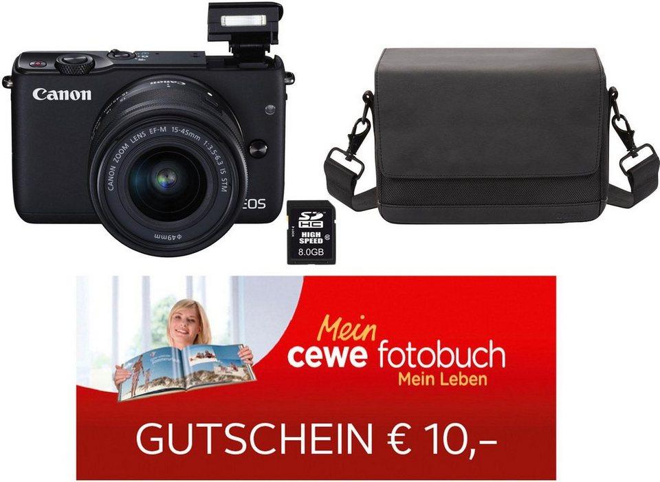 Canon EOS M10 Kit System Kamera, EF-M 15-45mm 1:3,5-6,3 IS STM Zoom, inkl. Tasche & 8GB SD-Karte in schwarz