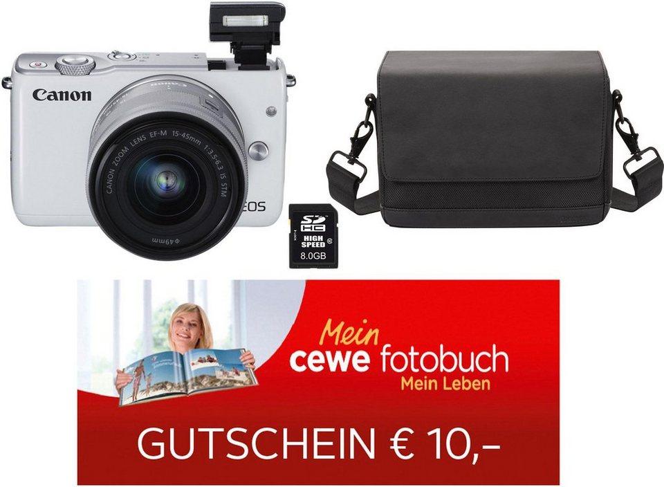 Canon EOS M10 Kit System Kamera, EF-M 15-45mm 1:3,5-6,3 IS STM Zoom, inkl. Tasche & 8GB SD-Karte in weiß
