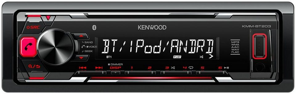 kenwood 1 din autoradio mit bluetooth kmm bt203 otto. Black Bedroom Furniture Sets. Home Design Ideas