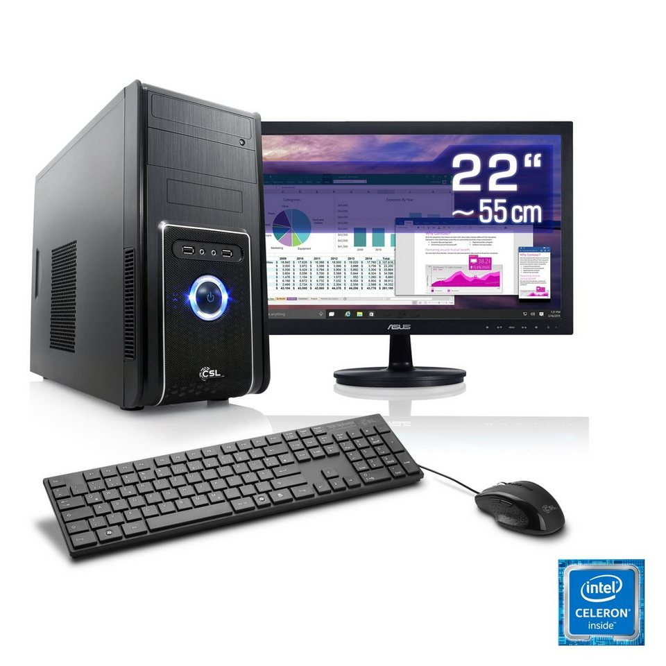 "CSL Office PC Set | Intel J1900 | 8 GB RAM | 22"" TFT »Speed T1824 Windows 10 Home« in schwarz"
