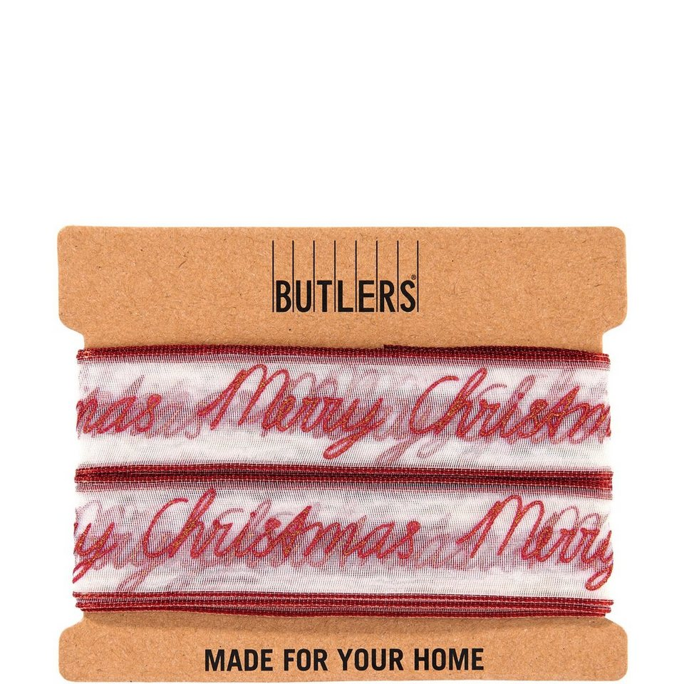 BUTLERS RIBBON »Geschenkband Merry Christmas« in rot