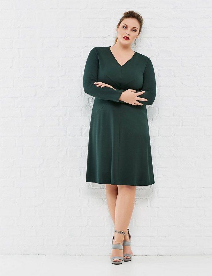 Samoon Kleid Langarm kurz »Stretchkleid mit Taillenbetonung« in Frosty Green