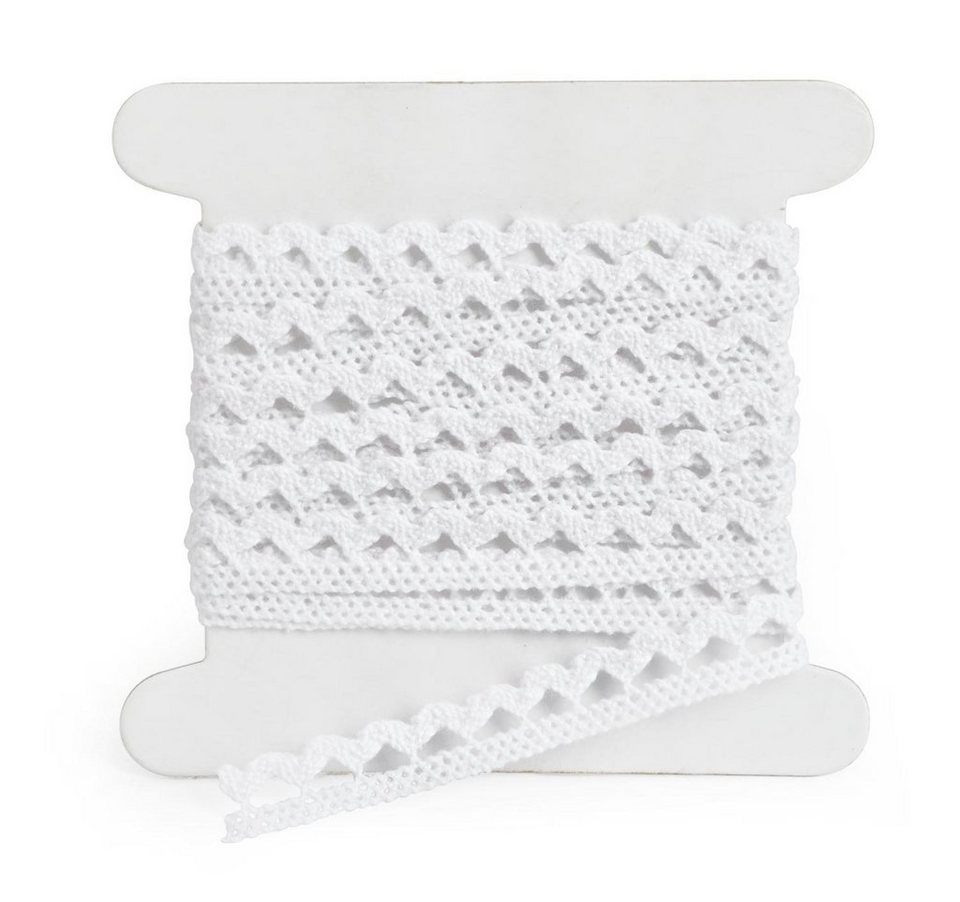 Spitzenband, geklöppelt in Weiß