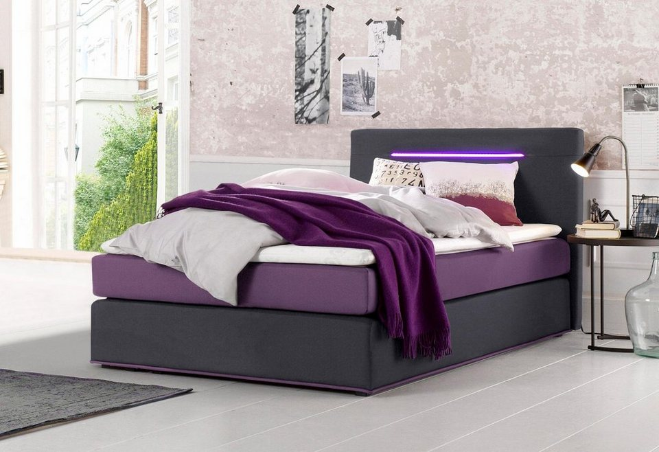 Collection AB Boxspringbett inkl. LED-Beleuchtung und Topper in anthrazit-brombeerfarben