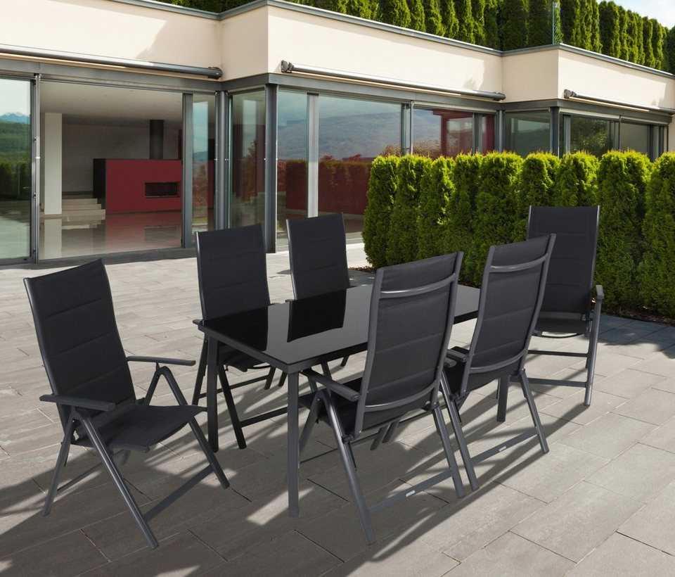 greemotion gartenm belset faro 7 tlg 6 klappsessel tisch 150x90 cm alu textil online. Black Bedroom Furniture Sets. Home Design Ideas