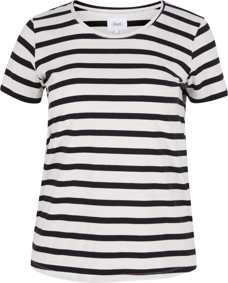Zizzi T-Shirt in Vanilla Ice w. black
