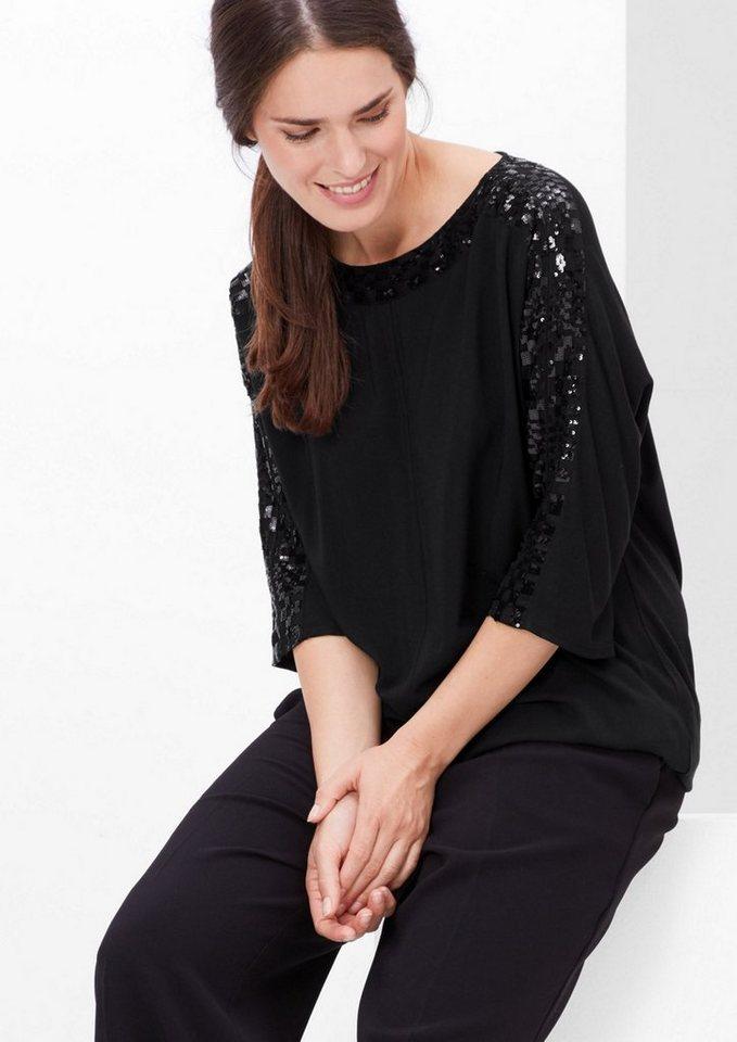 TRIANGLE Viskose-Shirt mit Pailletten in black