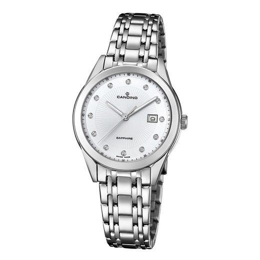 Candino Quarzuhr »UC4615/3 Candino Damen Uhr Analog C4615/3«, (Analoguhr), Damen Armbanduhr rund, Edelstahlarmband silber, Elegant