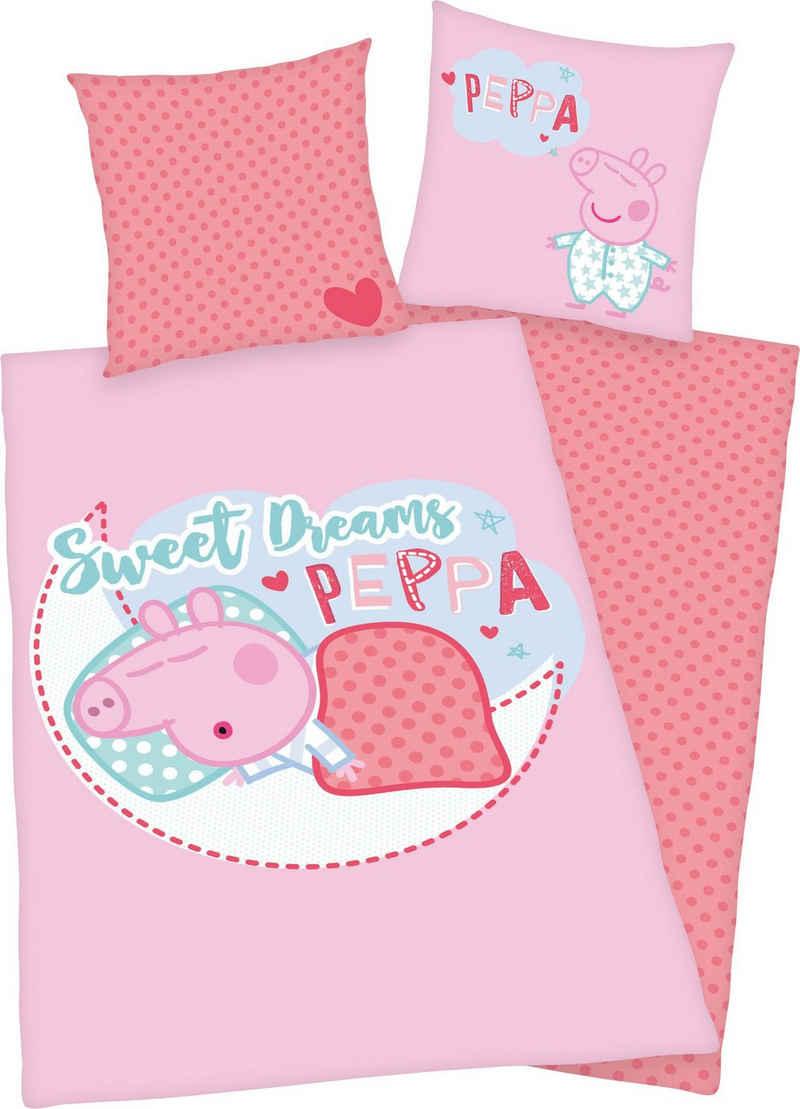 Kinderbettwäsche »Peppa Pig«, Peppa Pig, mit niedlichem Peppa Pig Motiv