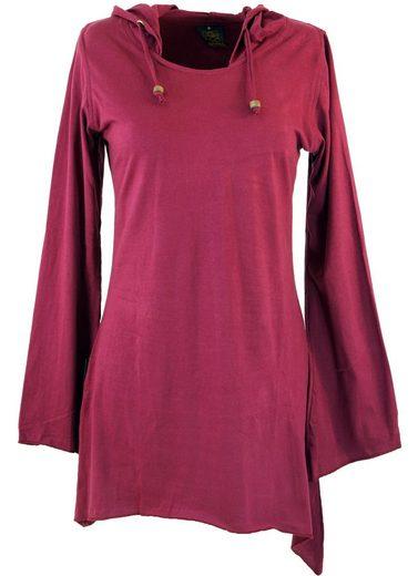Guru-Shop Longsleeve »Elfen Shirt Goa-chic Elfentunika - bordeaux«