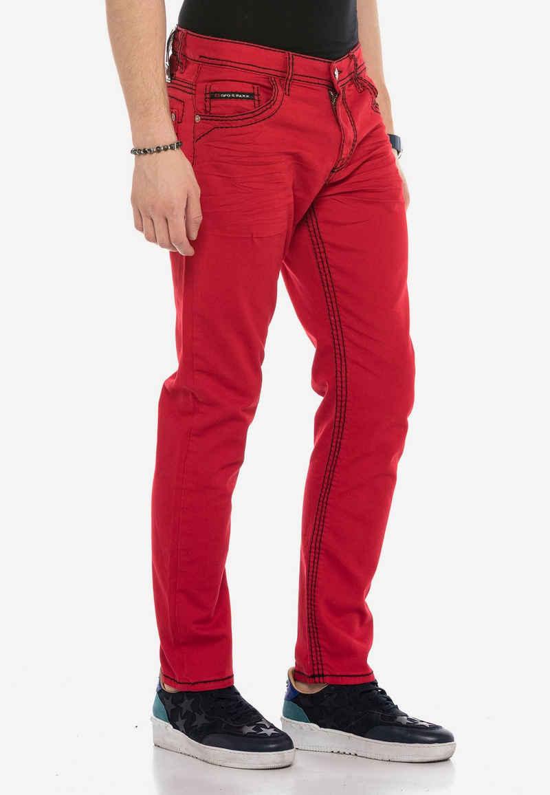 Cipo & Baxx Straight-Jeans mit dicken Kontrastnähten