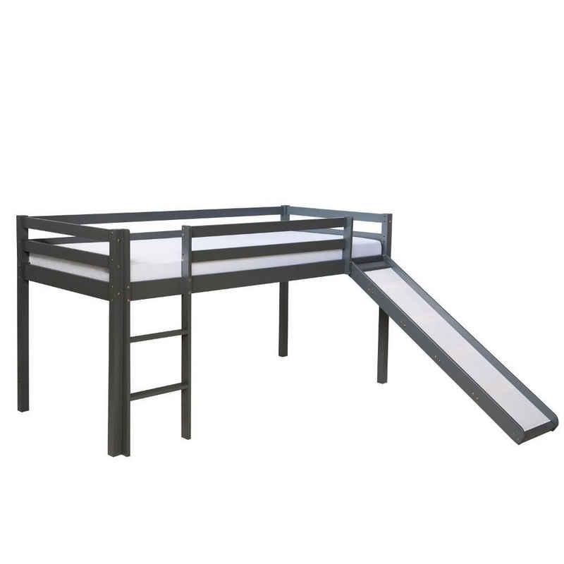 Homestyle4u Hochbett »Spielbett Kinderbett Kiefer 90x200 grau« (mit Rutsche)