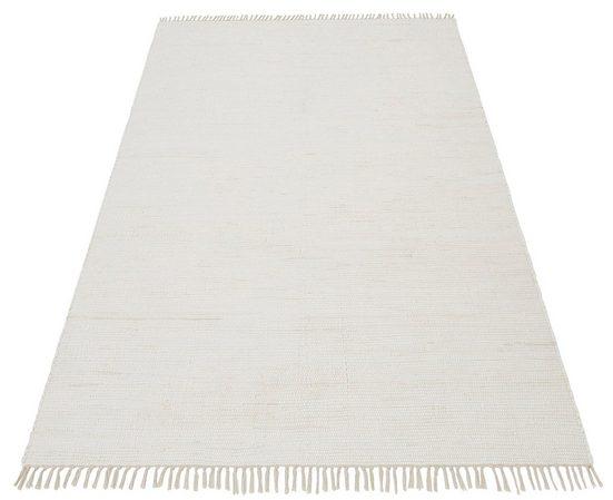 Teppich »Handweb Uni«, Home affaire, rechteckig, Höhe 5 mm, reine Baumwolle, Wendeteppich
