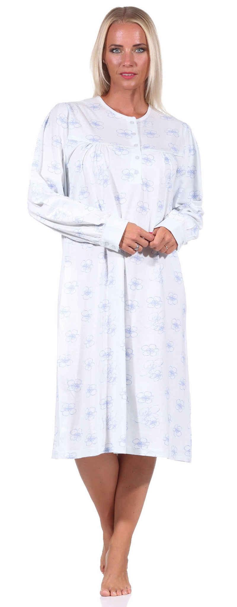 Normann Nachthemd »Elegantes frauliches Damen Nachthemd,105 cm Länge, Knopfleiste am Hals - 212 314 90 314«